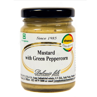 Delouis Strong Mustard With Green Pepper Corns 100g